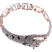 VINTAGE Bracelet in Rose Gold tone Leaping Jaguar with Rhinestones and Black Enamel Links