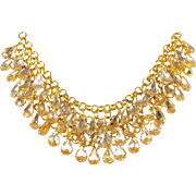 VINTAGE Collar necklace in Gold Tone with three rows of Crystal Rhinestones