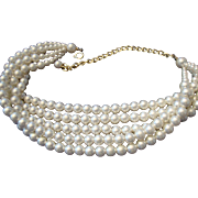 VINTAGE 5 Strand 6mm simulated cream pearl necklace/choker