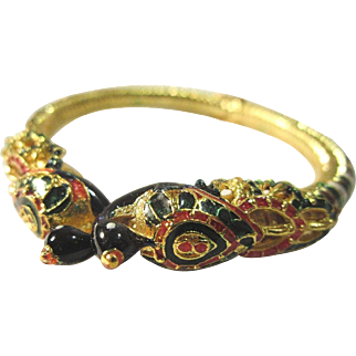 VINTAGE Gold tone clamper with peacocks and ornate enamel designs