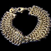 VINTAGE triple row Chain maille gold tone bracelet