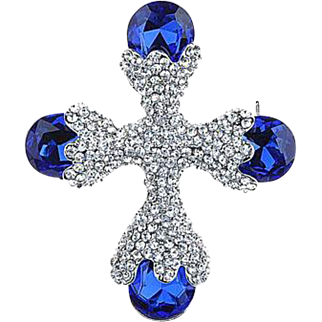 VINTAGE Maltese cross pin/brooch with sapphire and pave set rhinestones in silver tone
