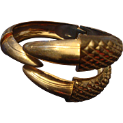 VINTAGE Heavy hinged clamper bracelet with Eagle claws