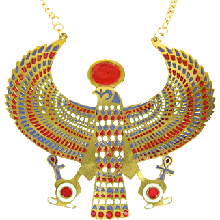 VINTAGE HUGE inspired by Ancient Egyptian God Horus pendant necklace in Gold tone with Enamel