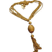 VINTAGE Signed EMMONS necklace multi delicate gold tone chains with a tassel