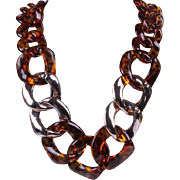 VINTAGE chunky tortoise shell lucite necklace with gold sprayed links
