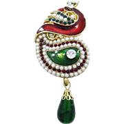 VINTAGE Large Stunning Peacock brooch with tiny faux pearls, emerald and ruby rhinestones in gold tone