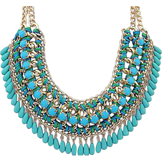 VINTAGE Bib necklace 4 Strand gold tone linked chains aqua lucite stones and dangles