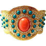 VINTAGE Estate Signed JC THAILAND Gold tone cuff with coral and turquoise glass stones