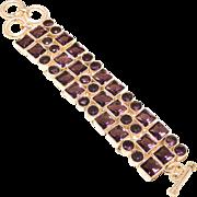 VINTAGE Beautiful Amethyst gemstones bracelet in 925 sterling silver with toggle