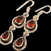 VINTAGE Red Garnet gemstone sterling silver dangle earrings with ear wires.