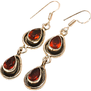 VINTAGE Red Garnet gemstone sterling silver dangle earrings with ear wires.