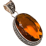 VINTAGE Large golden topaz gemstone in Sterling Silver pendant
