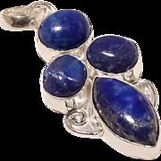 "VINTAGE 925 SILVER plated Lapis Lazuli gemstone handmade pendant 2"" long"