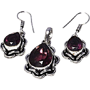 VINTAGE 3 Pc Amethyst gemstone in 925 sterling silver base pendant and dangle earrings
