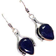 VINTAGE sapphire gemstone in a sterling silver base dangle earrings.