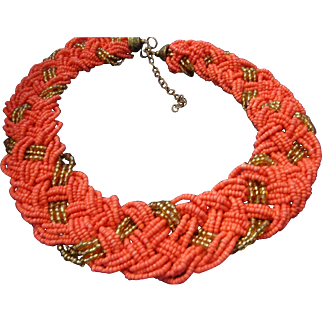 VINTAGE Thick braided tiny bead necklace with coral and gold glass beads