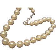 VINTAGE Hand knotted 80s large Faux 15mm Pearls in a choker/Necklace
