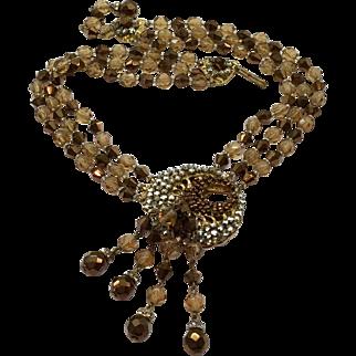 Topaz Copper Rhinestone Crystal Necklace Dramatic Unsigned