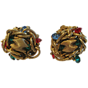 Miriam Haskell Red Green & Blue Rhinestone Jewelled Knot Earrings