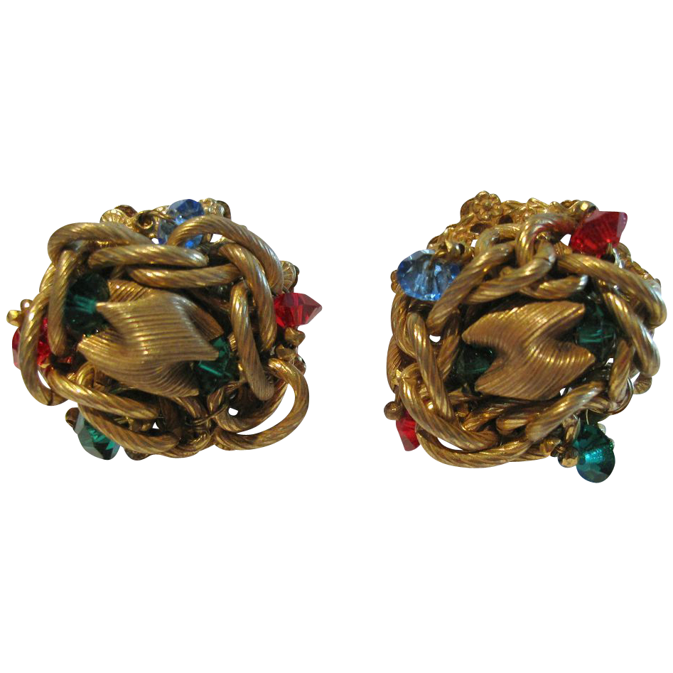 Miriam Haskell Red Green & Blue Rhinestone Jewelled Knot Earrings