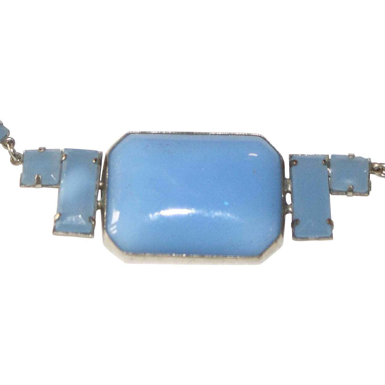 Blue Milk Glass Czechoslovakia  Necklace