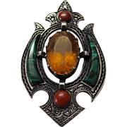 Sterling Scottish Topaz Malachite Shield Pin Victorian Revival