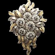 Elegant Trifari Floral Pin 2-tone Elegant