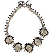 Sherman Large Oval Clear Grey Swarovski Necklace Spectacular