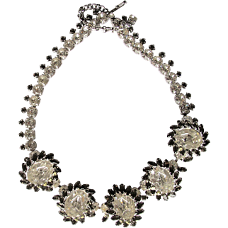 Sherman Large Oval Clear Grey Swarovski Necklace Spectacular