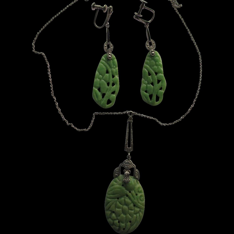 Faux Jade Celluloid Marcasite Pendant Earrings Vintage