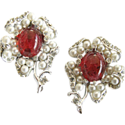 Marvella Faux Pearl Rhinestone & Ruby Floral Pins