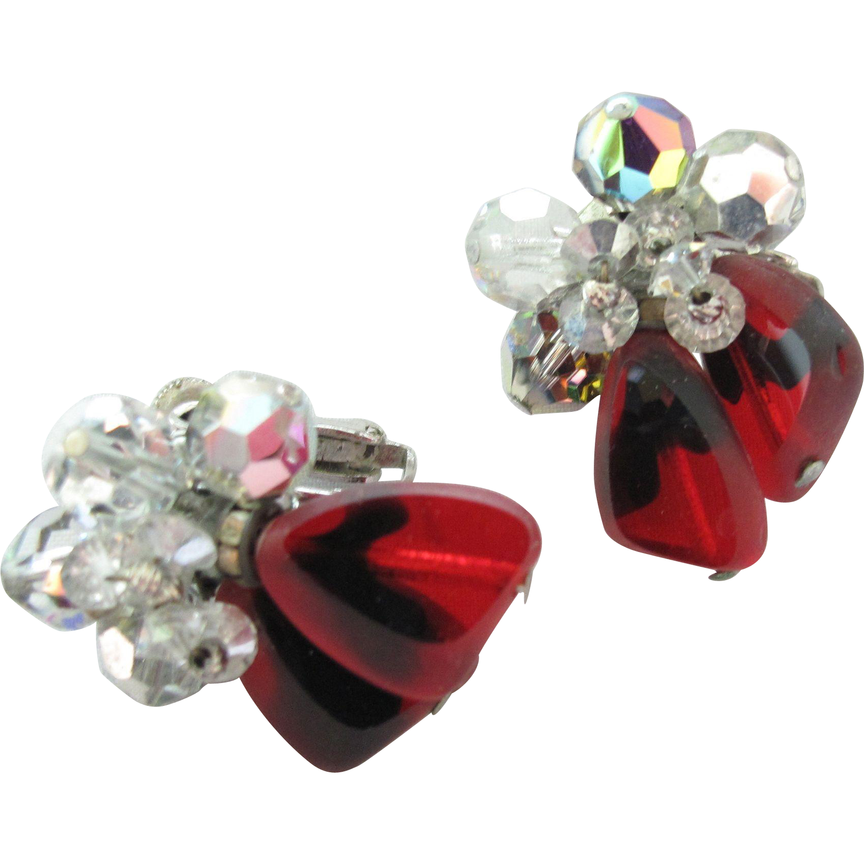 Vendome Red Glass Cluster Earrings
