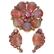 Pink Givre Art Glass Pin Earrings