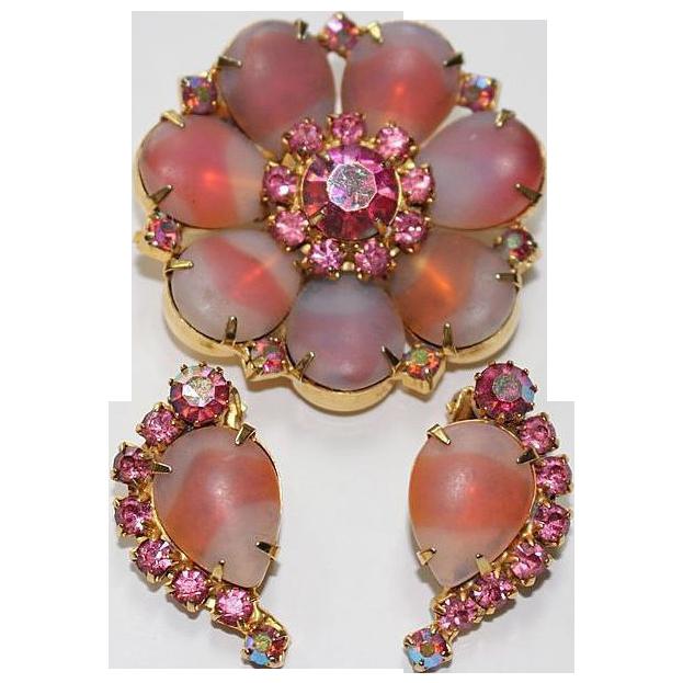 Pink Givre Art Glass Pin Earrings