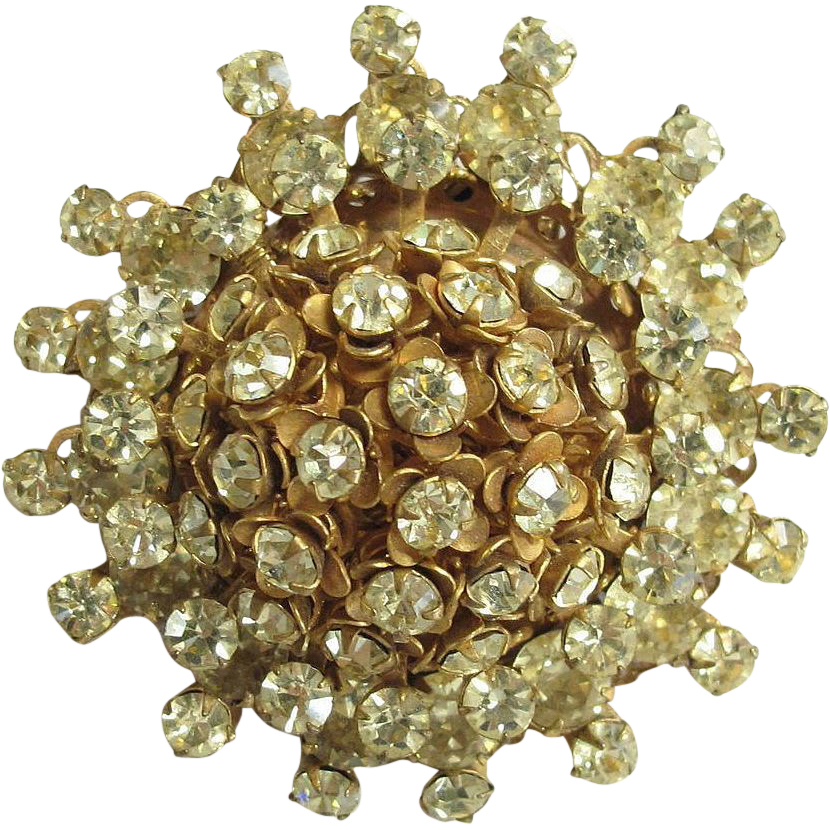Early Haskell Layered Rhinestone Pin Pale Yellow