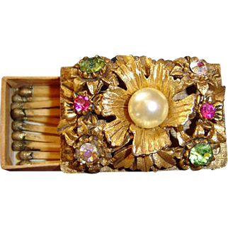 Florenza Florentine Jewelled Match Box with Original Gold Matches