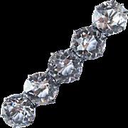 Victorian Sterling Bar Pin 5 Rock Quartz Crystals
