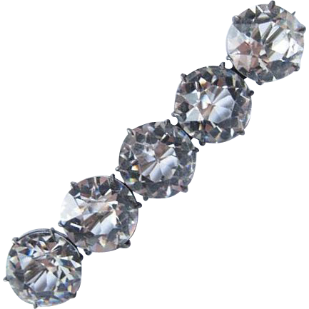 Victorian Sterling Bar Pin 5 Rock Quartz Crystals