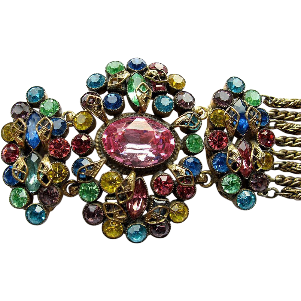 Czech Filigree Bracelet Pink Blue Yellow
