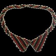 Jakob Bengel Red Enamel Chrome Art Deco Necklace