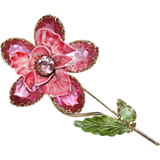 Large Enamel Pink Flower Pin