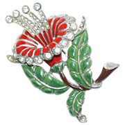 Large Pot Metal Enamel Rhinestone Flower Pin 1930's