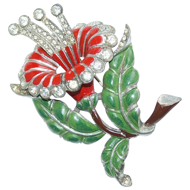 Large Pot Metal Enamel Rhinestone Flower Pin 1930's