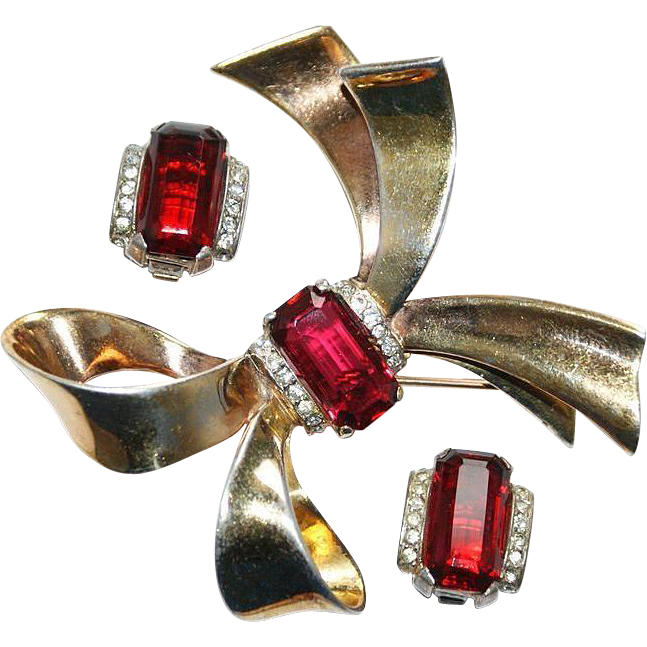 Trifari Alfred Philippe Sterling Red Bow Pin Earrings