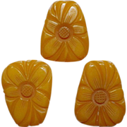Large Bakelite Floral Carved Pin & Earrings
