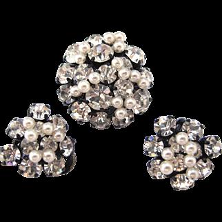 Japanned Austrian Pearl Rhinestone Earrings Pin Brooch