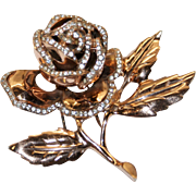 Nettie Rosenstein Sterling Gold Washed Rhinestone Rose Floral Clip Mint