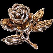 Nettie Rosenstein Sterling Gold Washed Rhinestone Rose Floral Clip Mint