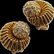 Hattie Carnegie Pave Rhinestone Earrings